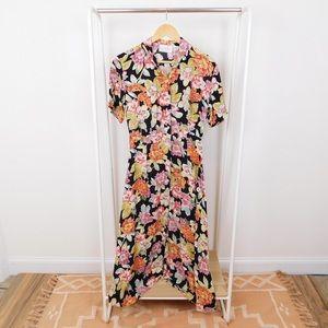 Vintage Floral Midi Shirt Dress